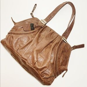 Jessica Simpson Brown Leather Shoulder Bag Purse